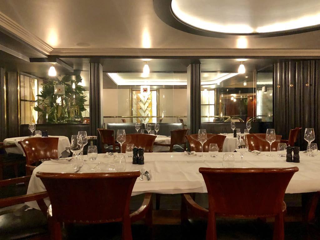 Dining room of Garnier, great seafood restaurant near Gare Saint Lazare in Paris.