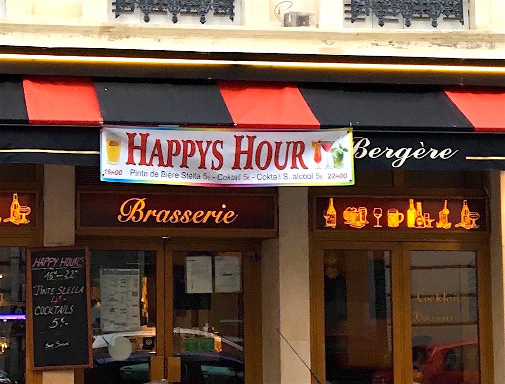 "Paris cafe ""happy hours"" signs."