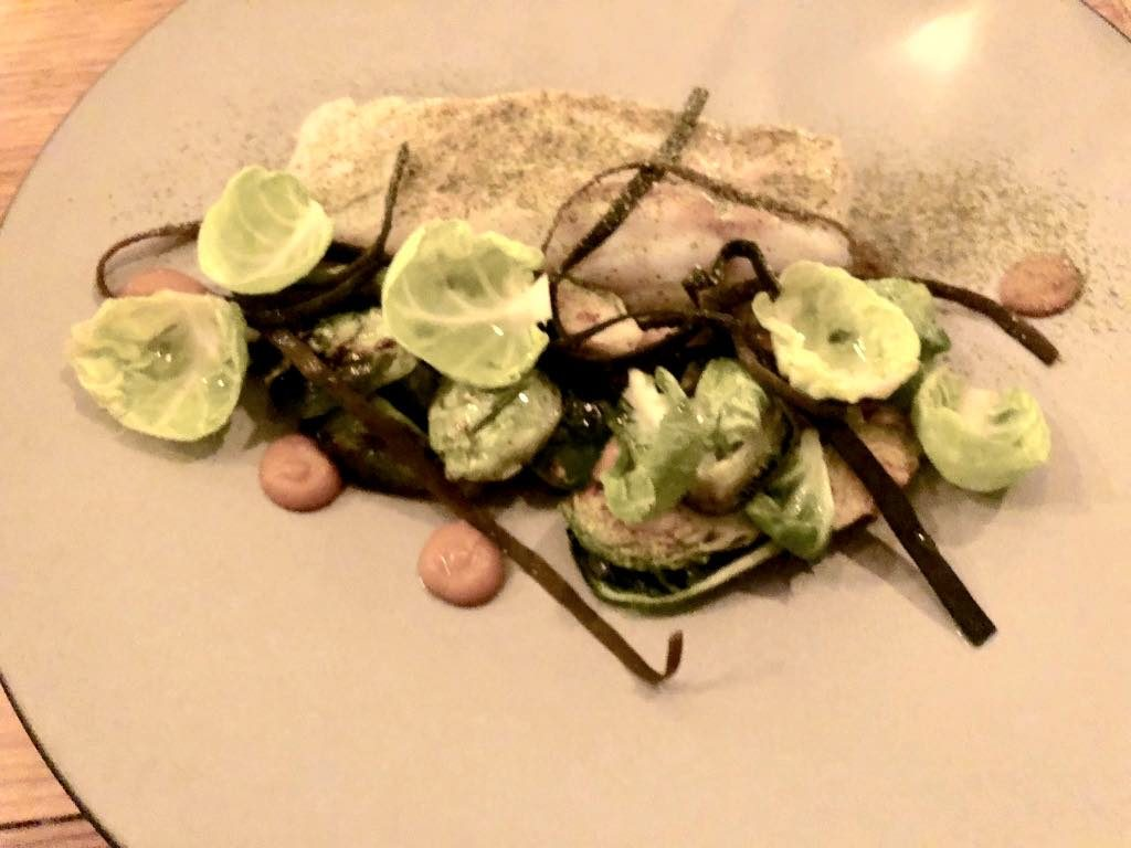 Salt restaurant, Paris, Cod with Brussels sprouts and medlar