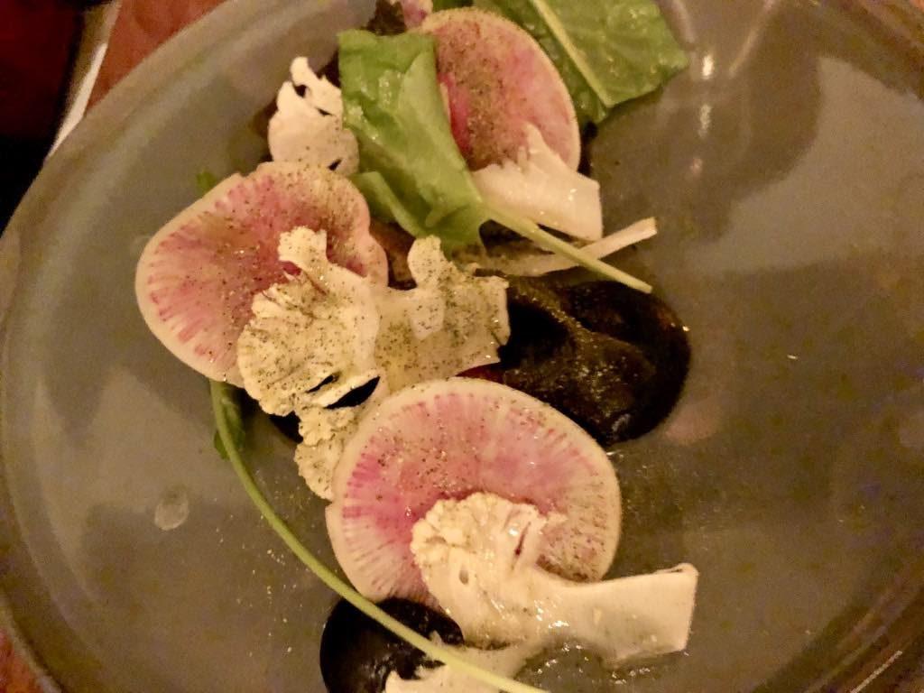 Salt restaurant, Paris, scallops with cauliflower and sesame.