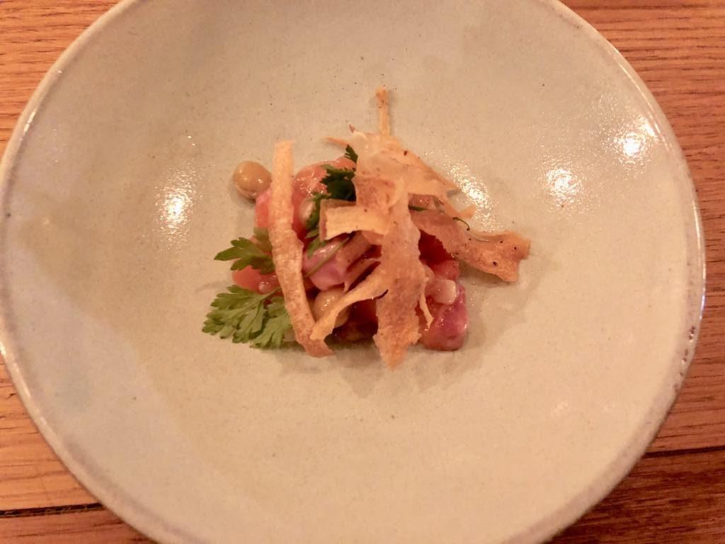 Salt restaurant, Paris, trout tartare with parsnip chips
