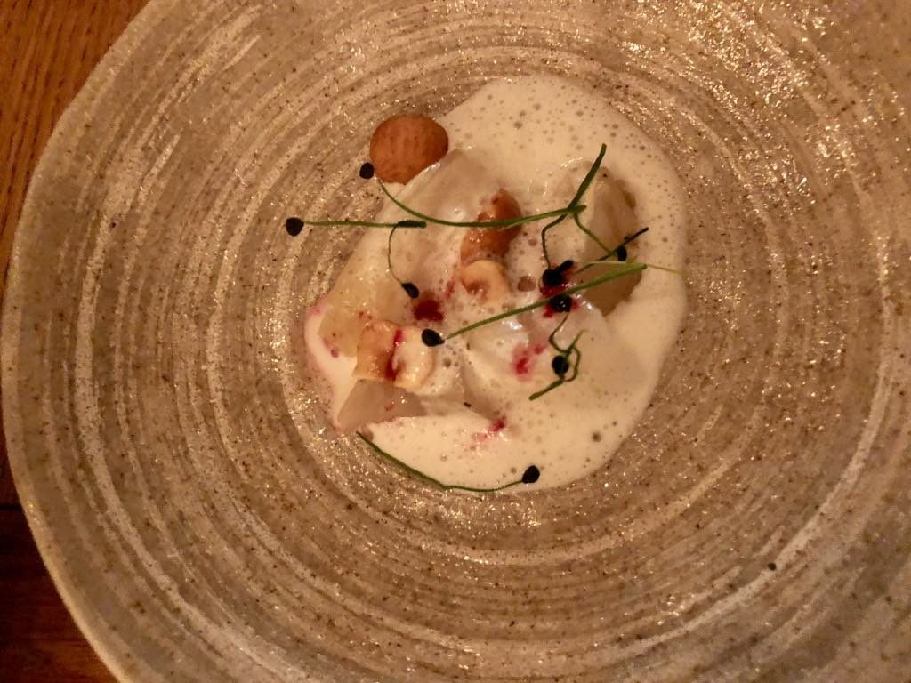 Salt restaurant, Paris, white beets with parmesan emulsion and toasted hazelnuts
