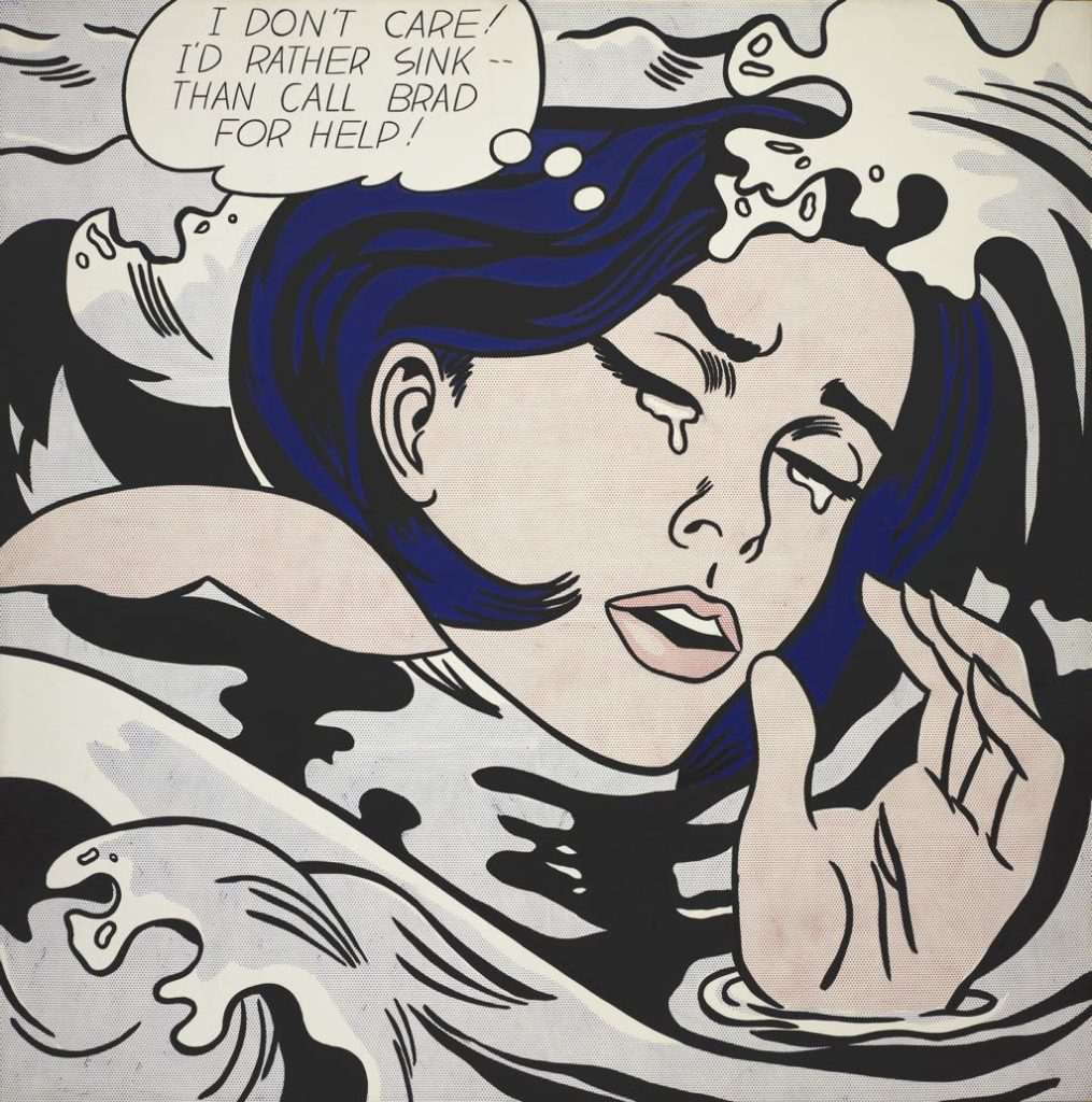 """""""Drowning Girl"""" (1963), by Roy Lichtenstein, Being Modern: MoMA in Paris, Fondation Louis Vuitton"""