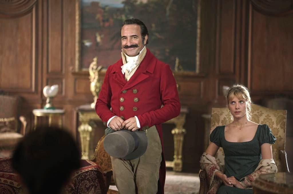 "Jean Dujardin and Mélanie Laurent in French film ""Return of the Hero."""