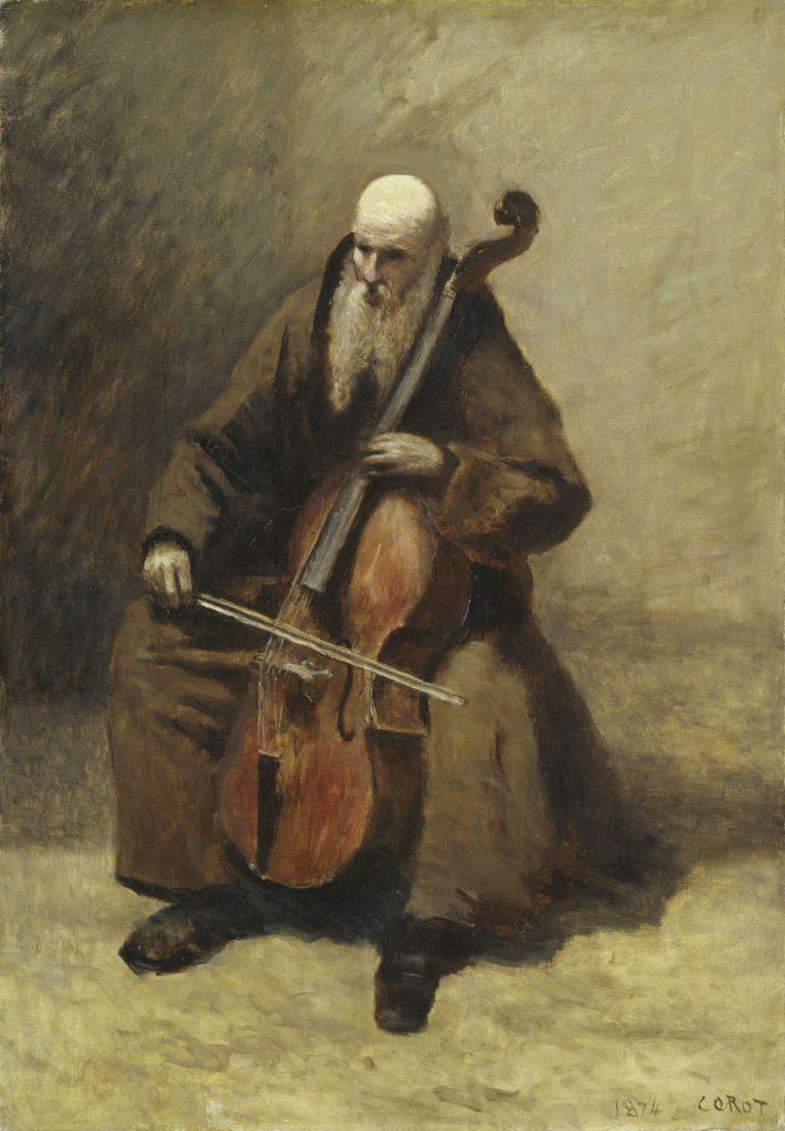 Jean-Baptiste Camille Corot – Le Moine au violoncelle, 1874 – Huile sur toile – 72,5 x 51 cm Hambourg, Hamburger Kunsthalle – © Hamburger Kunsthalle / bpk – Foto: Elke Walford