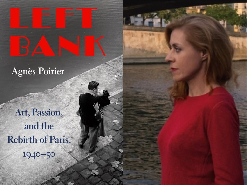 Agnès Poirier and the cover of her new book, Left Bank: Art, Passion and the Rebirth of Paris 1940-50