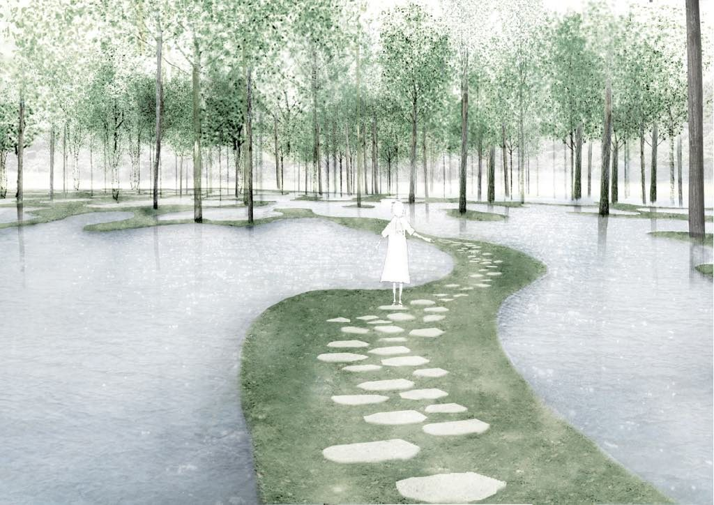 Botanical Farm Garden Art. Biotop/Water Garden, perspective view. Tochigi, Japan. © JUNYA.ISHIGAMI+ASSOCIATES