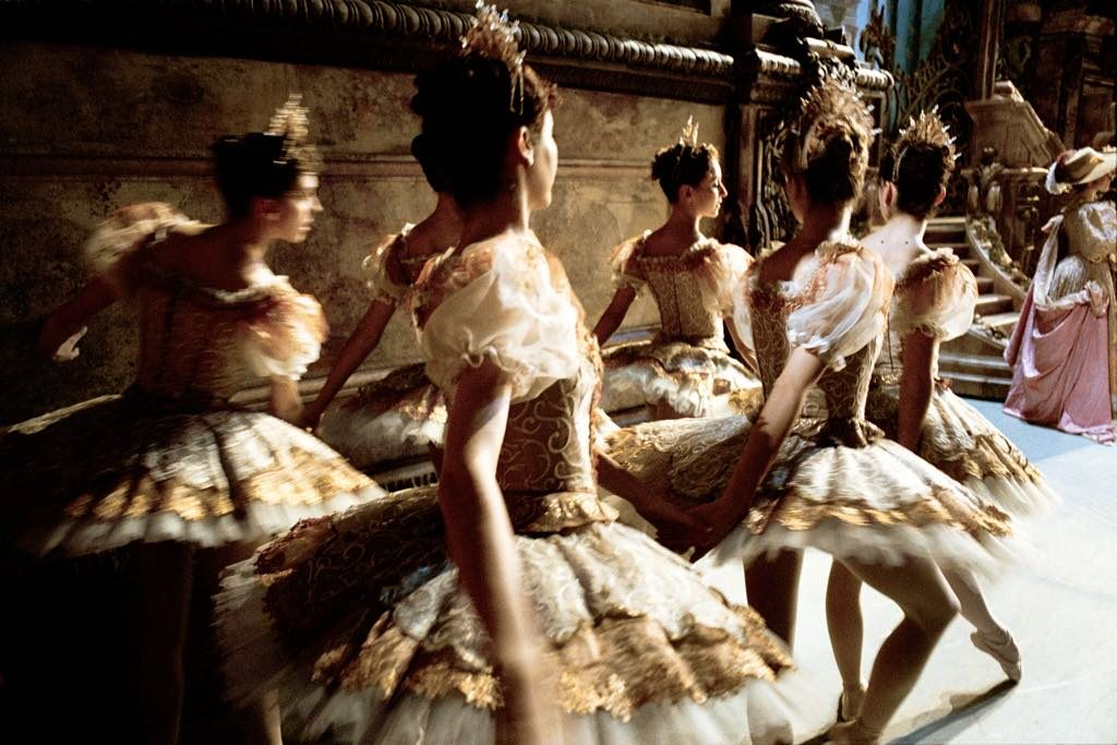 "Dancers waiting in the wings during a performance of Rudolf Nureyev's ""Sleeping Beauty"" at the Paris Opera in 2014. © Gérard Uféras"