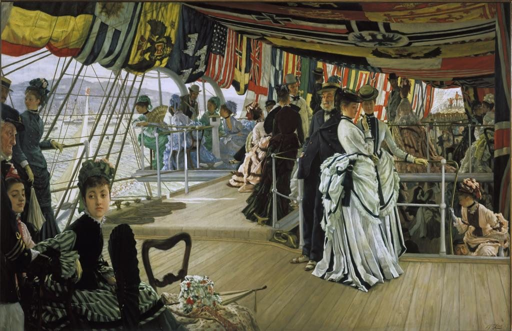 "Impressionists in Paris, petit Palais, ""The Ball on Shipboard"" (c.1874), by 1874, by James Tissot. © Tate 2017. Photo: David Lambert"