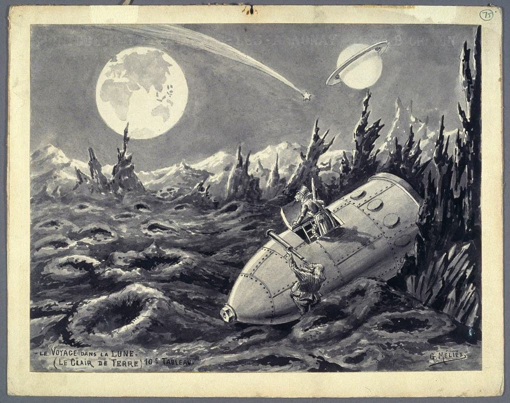 "L'Envol, Maison Rouge Paris ""Le Clair de Terre,"" a drawing for the Georges Méliès film ""A Trip to the Moon. Courtesy Collection La Cinémathèque Française."