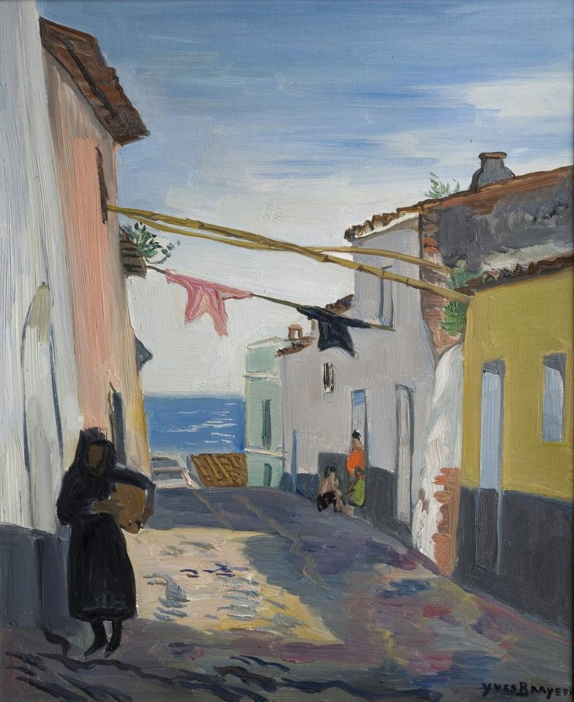 """Street in Almunecar"" (1962), by Yves Brayer. © Musée Paul Valéry © ADAGP, Paris 2018. From the accompanying poem by Luis Mizón: ""The phantoms bathe naked on a tiny beach between the boulders..."""