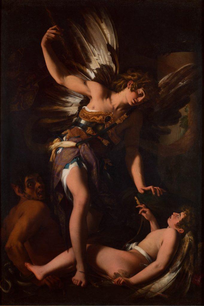 """""""Sacred Love Versus Profane Love""""(1602–03), by Giovanni Baglione. Caravaggio, Musée Jacquemart-André, Paris"""