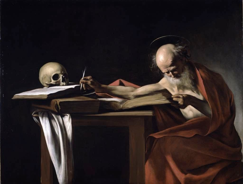 "Caravaggio. ""Saint Jerome Writing"" (1605). Musée Jacquemart-André, Paris"