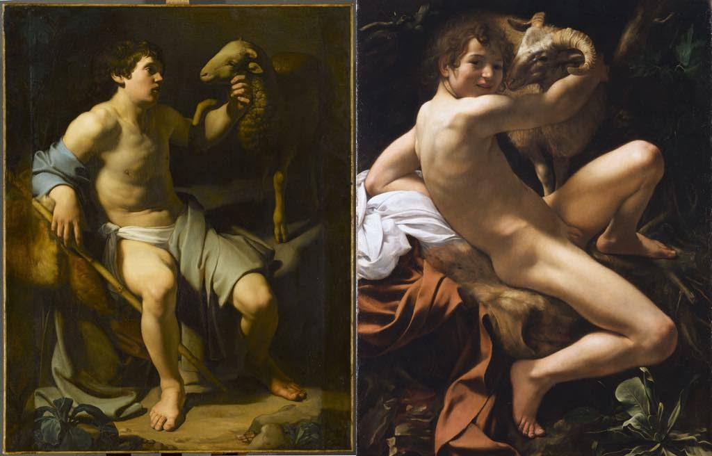 """Caravaggio's """"Saint John the Baptist"""" (1602) © Roma, Sovrintendenza Capitolina ai Beni Culturali, """"Saint John the Baptist"""" (1602), by Bartolomeo Manfredi (1613-15). Musée Jacquemart-André"""