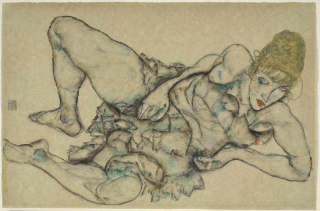"""Reclining Woman with Blonde Hair"" (1914). Egon Schiele"