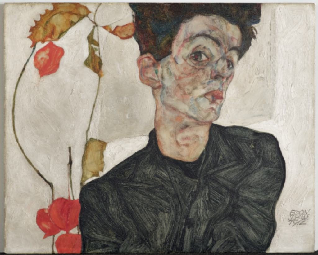 """Self-Portrait with Chinese Lantern Plant"" (1912), by Egon Schiele. Photo © Leopold Museum, Vienna"