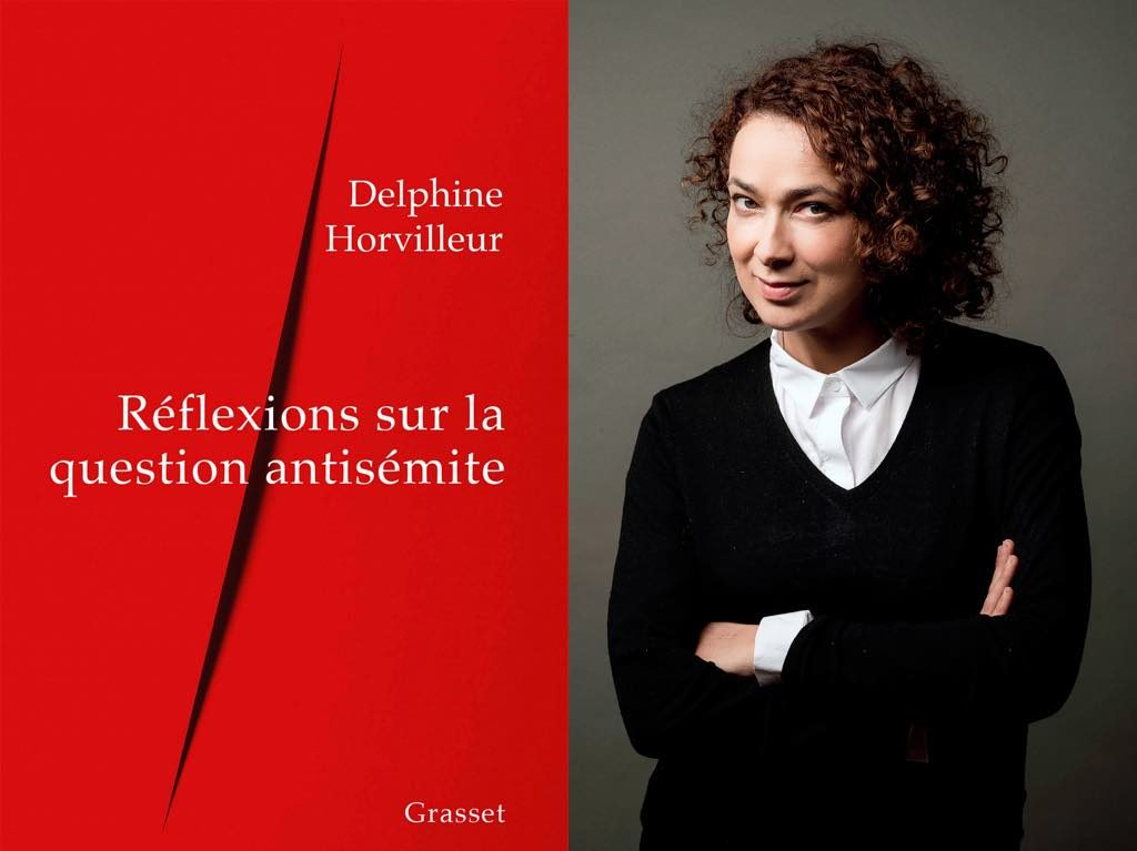 Delphine Horvilleur and the cover of her new book, Réflexions sur la Question Anti-Semite.