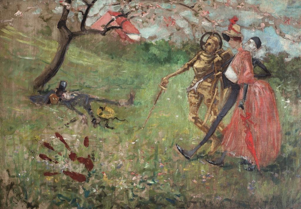 """""""Zut ! V'la l'Printemps"""" (1882), by Adolphe-Léon Willette. Musée de Montmartre, Collection Le Vieux Montmartre"""