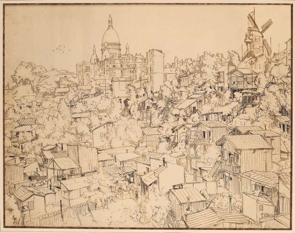 """""""Panorama de la Butte"""" (1897), by Frantisek Kupka. Musée de Montmartre, collection Le Vieux Montmartre."""
