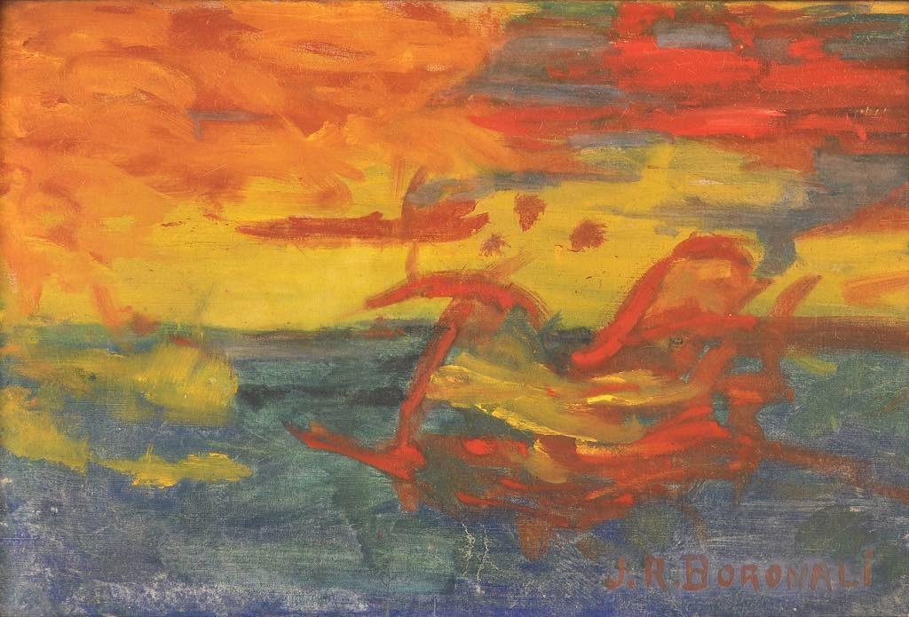 """Sunset over the Adriatic"" (1910), byLolo,AKAJoachim Raphael Boronali. Mairie de Milly-la-Forêt"