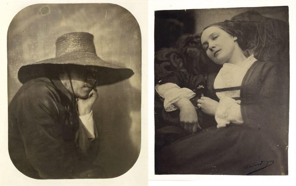 """Left: """"Self-Portrait with Straw Hat"""" (c. 1854), by Adrien Tournachon. Right: """"Musette"""" (1854-55), by Adrien Tournachon. BnF, Département des Estampes et de la Photographie."""