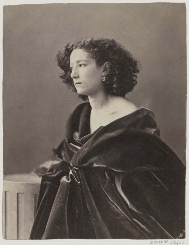 """""""Sarah Bernhardt, Draped in Black"""" (1864), by Félix Nadar. BnF, Département des Estampes et de la Photographie"""