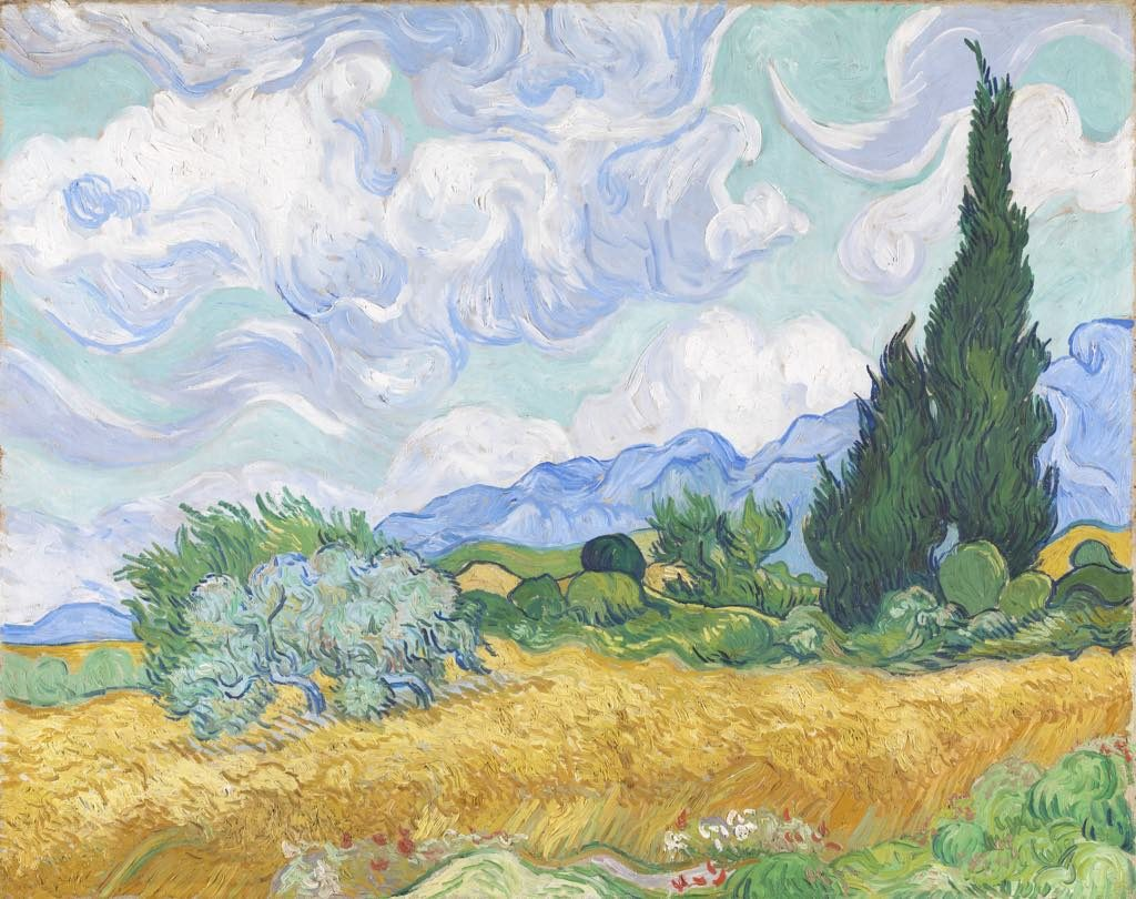 """""""A Wheatfield with Cypresses"""" (1889), by Vincent van Gogh. © The National Gallery, London"""