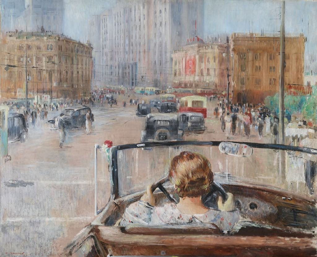 """Rouge, Grand Palais Paris """"The New Moscow"""" (1937), by Youri Pimenov."""