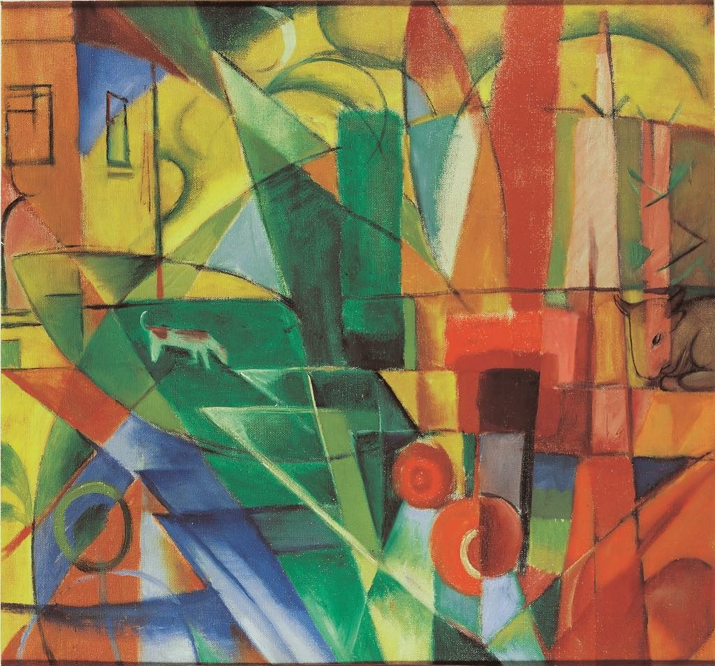 """Landscape with House and Two Cows"" (1914), by Franz Marc. © Merzbacher Kunststiftung"