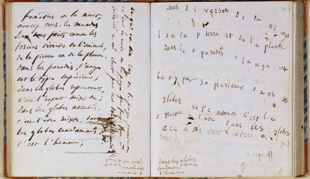 Victor Hugo's transcription of messages from spirits during a seance on June 4, 1855. Dept. des Manuscrits, BnF