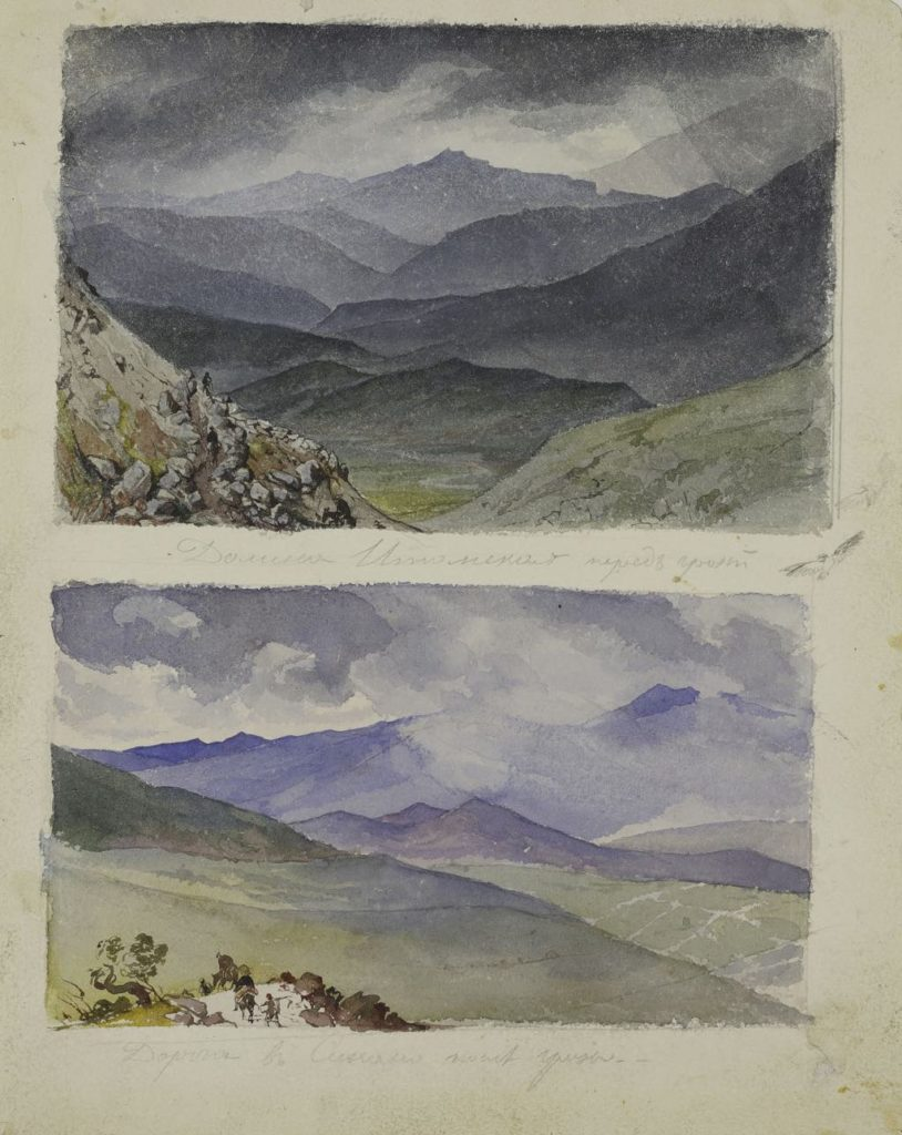 """Valley of Itom before the Storm"" and ""Road to Sinano after the Storm "" (1835), by Karl Bryullov."