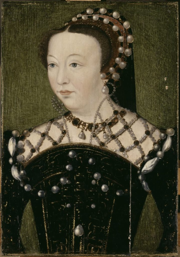 """Catherine de Médicis, Queen of France"" (c. 1556), after François Clouet. © Photo RMN-Grand Palais (Château de Versailles)/Gérard Blot"