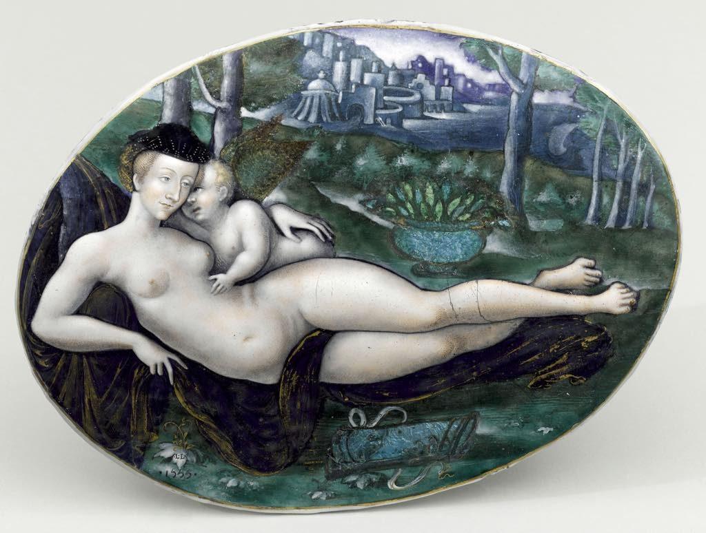 """""""Vénus et l'Amour"""" (1550), by Léonard Limosin. © Photo (C) RMN-Grand Palais (Musée du Louvre)/Jean-Gilles Berizzi"""