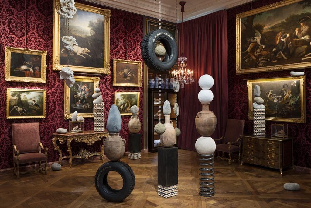 """View of Théo Mercier's exhibition """"Every Stone Should Cry"""" at the Musée de la Chasse et de la Nature."""