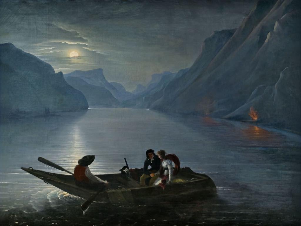 """Petit Palais, Romantic Paris, """"Promenade de Julie et Saint-Preux sur le Lac de Genève"""" (1824), by Charles-Édouard Leprince (Baron de Crespy). Photo: Didier Fontan"""