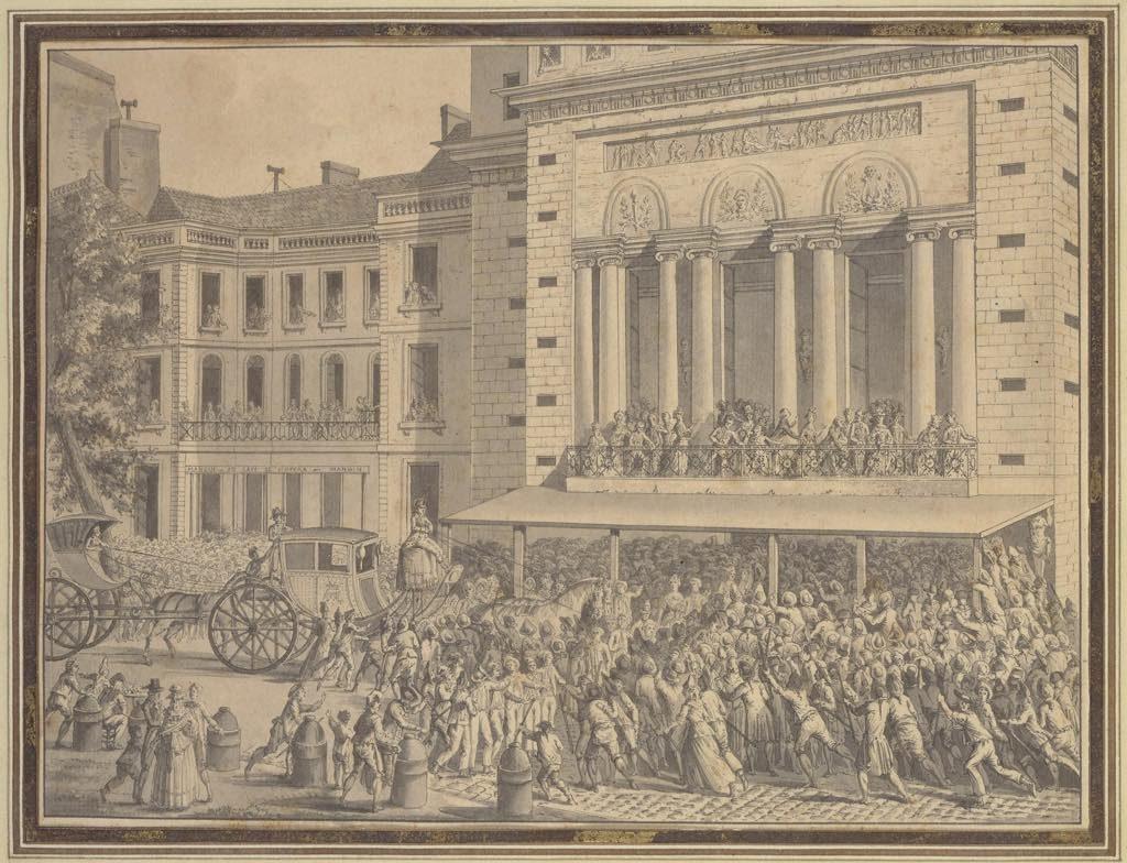 """""""A crowd shuts down the Opéra on July 12, 1789"""" (1789-95), Jean-Louis Prieur. BnF, Musique, Bibliothèque-Musée de l'Opéra"""