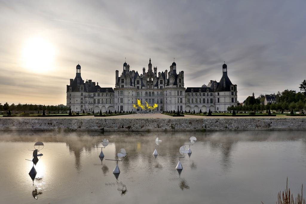 Susumu Shingu's kinetic sculptures in the moat and in front of the Château de Chambord.