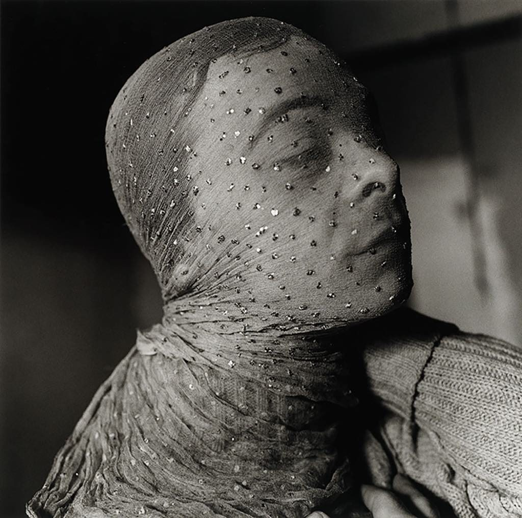 "Peter Hujar, ""Gary Indiana Veiled, 1981."" © Peter Hujar Archive, LLC, courtesy Pace/MacGill Gallery, New York and Fraenkel Gallery, San Francisco"