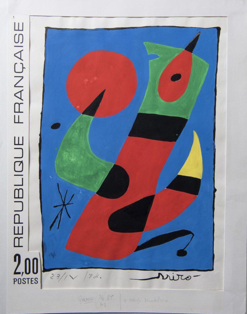 Stamp featuring a painting by Joan Miró (1974). © Adagp, Paris, 2019 © Musée de La Poste-La Poste, 2019