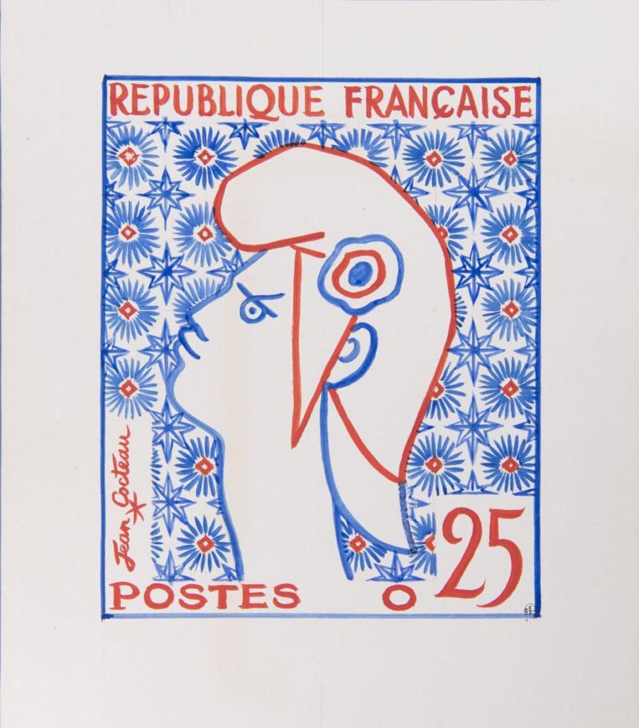 Jean Cocteau's drawing of Marianne, the symbol of France, for a stamp (1960-61) © Adagp/Comité Cocteau, Paris, 2019 © Musée de La Poste-La Poste/Thierry Débonnaire, 2019