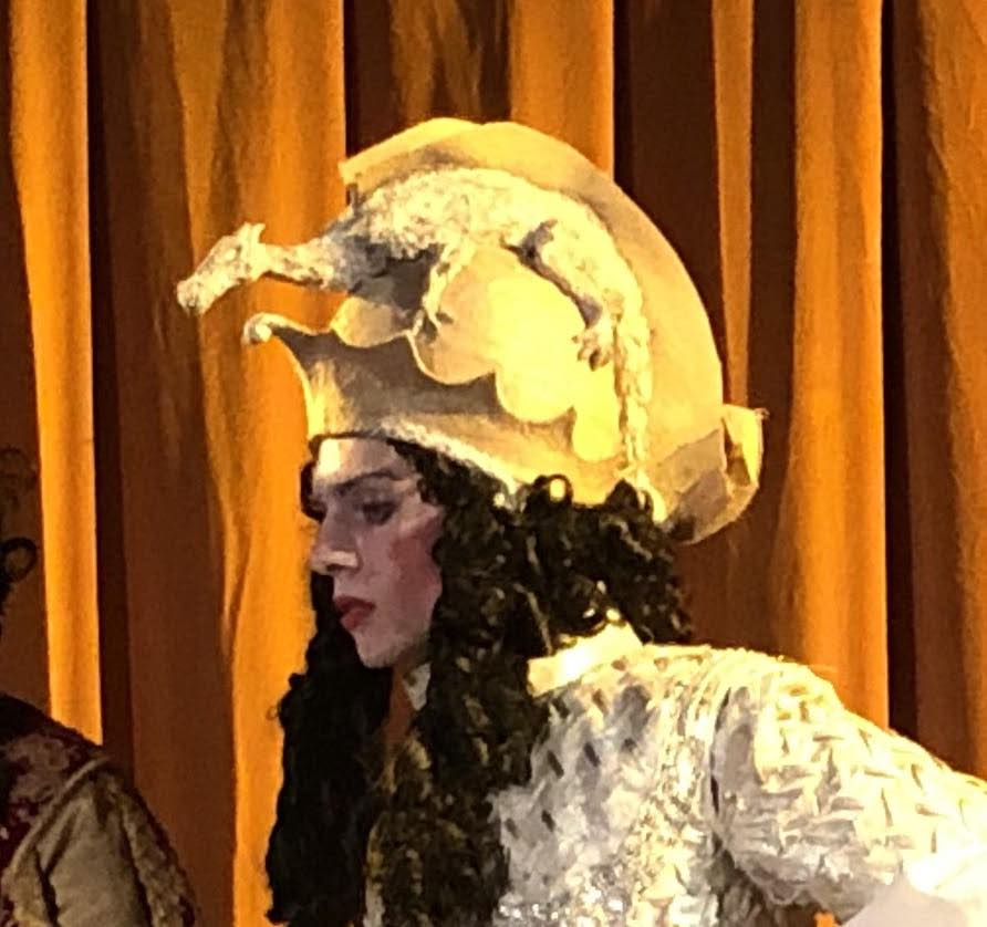 Antoine Gheerbrant, who will play Oreste on February 3, wears the character's wig and helmet.