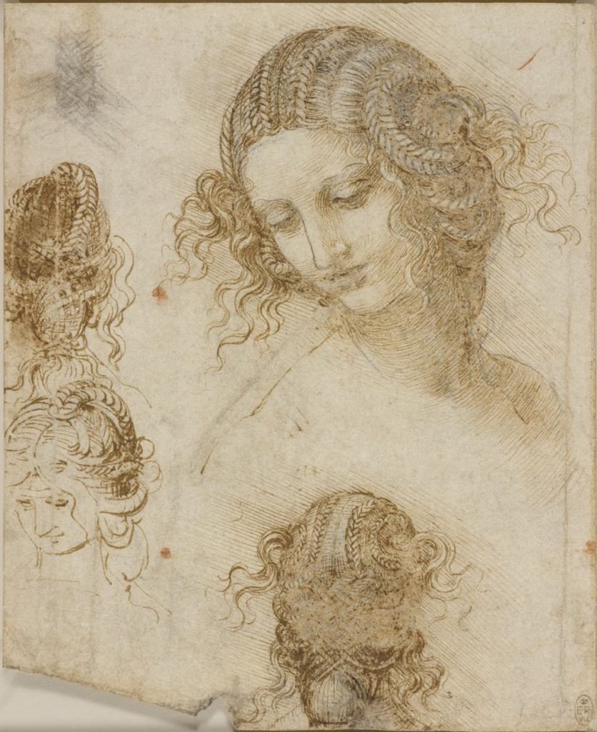 """Studies for the Head of Léda"" (c. 1505-06. Royal Collection Trust. © Her Majesty Queen Elizabeth II 2019"