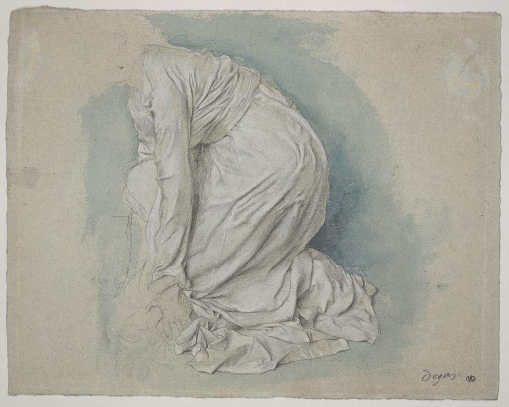 """""""Étude de Drapé pour une Figure Accroupie dans Sémiramis Construisant Babylone"""" (c. 1861), by Edgar Degas. Photo © RMN-Grand Palais (Musée d'Orsay)/Michel Urtado"""