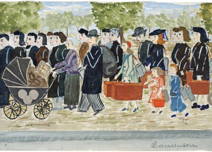 ParisUpdate-L exode le 13 juin 1940, sur la route de Fontainebleau, travail d Çläve, RÇgine Laurensou, 1940 ∏ RÇseau CanopÇ Le MusÇe national de l Education
