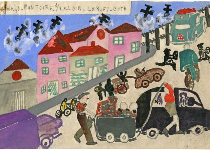 ParisUpdate-L exode le 17 juin 1940, Montoire sur le Loir, travail d Çläve, Christiane Crosnier, 1940