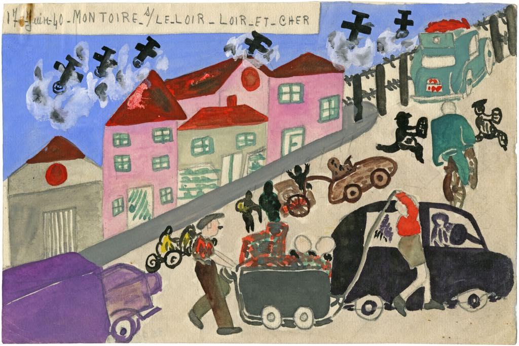 The exodus on June 17, 1940 in Montoire sur le Loir, by schoolgirl Christiane Crosnier, 1940. © Réseau-Canopé–Le Musée National de l'Education
