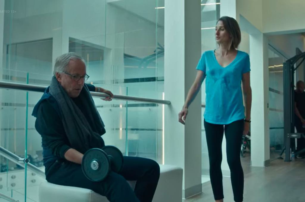 """Andréa (Camille Cottin) """"accidentally"""" runs into Fabrice Luchini at the gym in Call My Agent."""