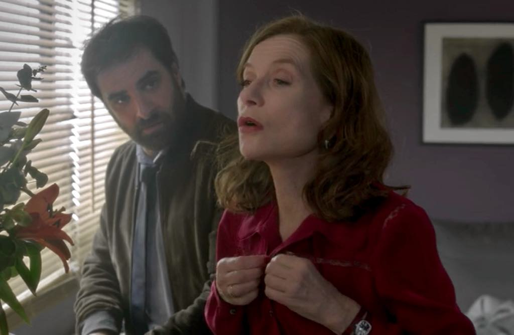 Gabriel (Grégory Montel) is worried about his overbooked client Isabelle Huppert in <em>Call My Agent.</em>