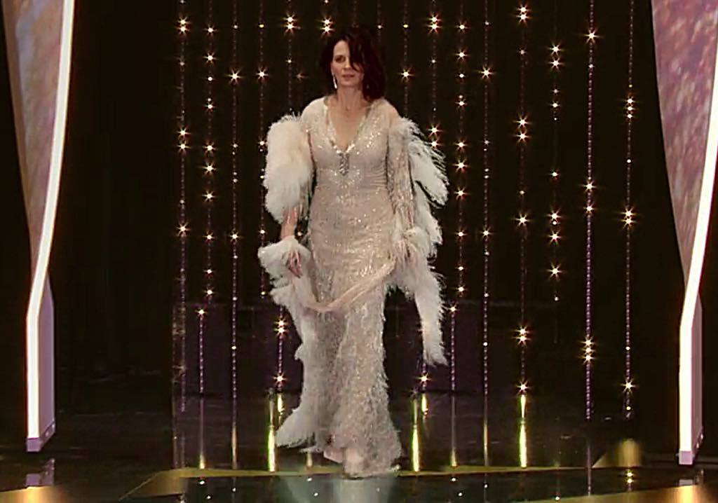 Juliette Binoche is saddled with a hideous dress as the host of the Cannes Film Festival in Call My Agent.