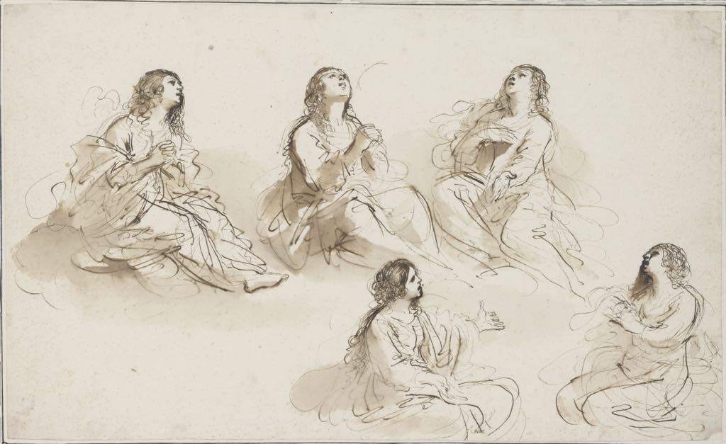 """Five Studies for Mary Magdelene"" (c. 1620), by Guercino (Giovanni Francesco Barbieri). Fondation Custodia, Collection Frits Lugt, Paris."